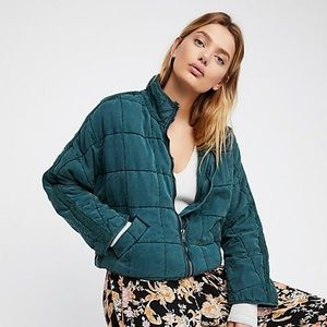 Free People Dolman Quilted Jacket Emerald Size M